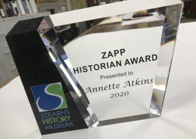 Annette Atkins Receives Zapp Historian Award